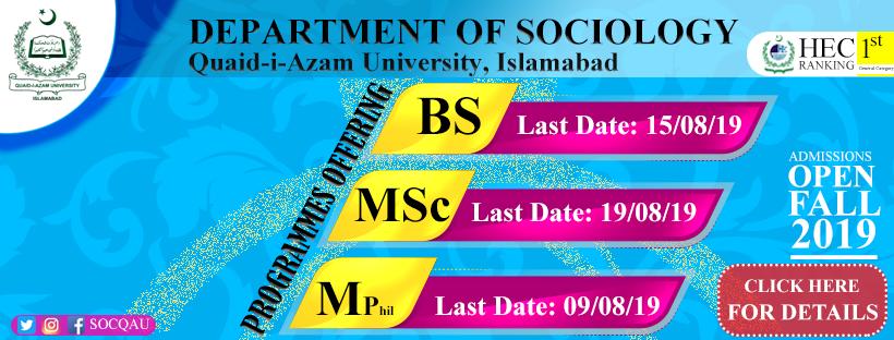 Department of Sociology – Quaid-i-Azam University, Islamabad, Pakistan